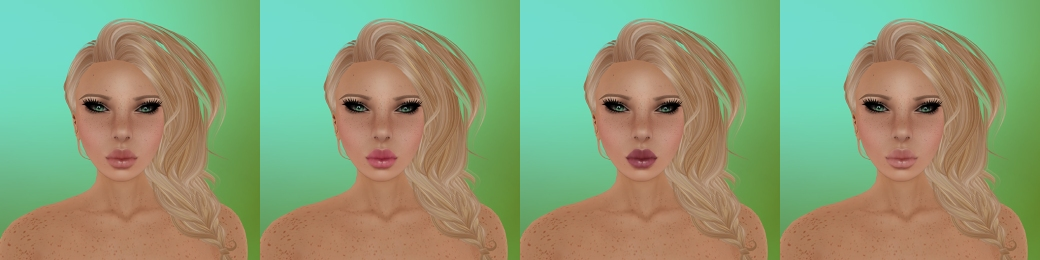 Aeryn Natural with light moles, light freckles and light eyebrows. Makeup 1-4 again left to right.