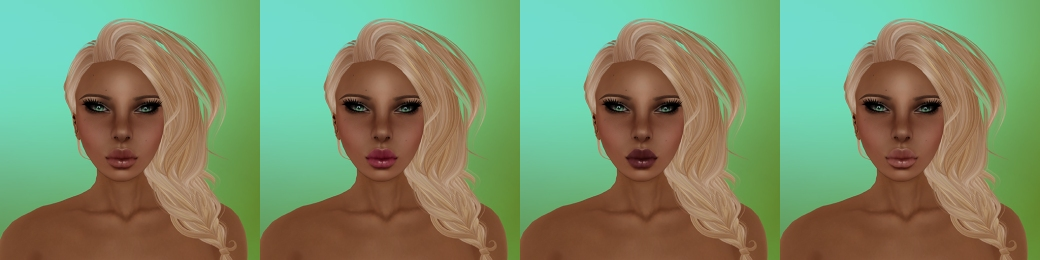 Aeryn in Olive tone with no freckles, medium moles and medium eyebrows. Makeup options 1 through 4, left to right