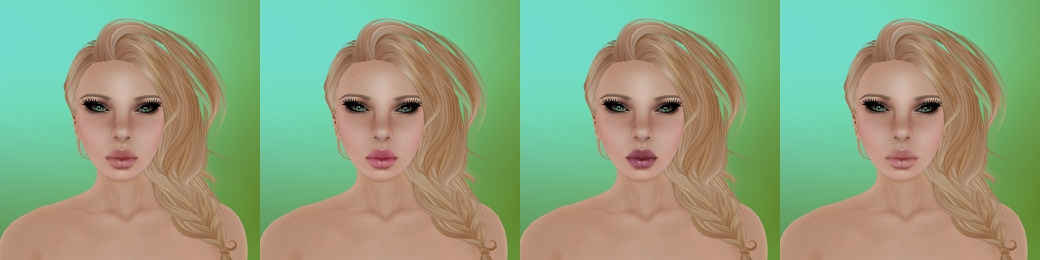 Aeryn Pale with no freckles,  light moles, and light eyebrows.  Makeup options 1 through 4 (left to right)