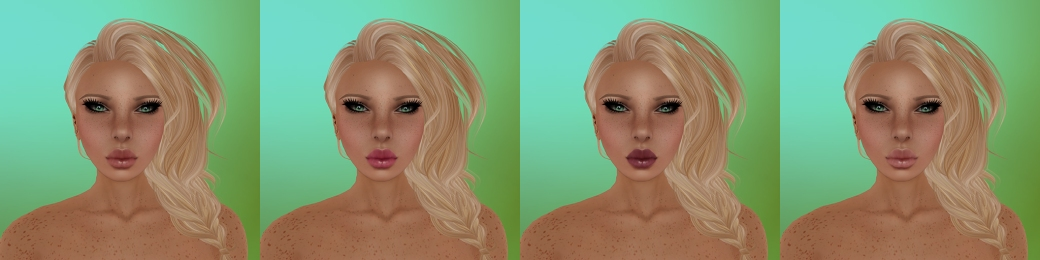 Aeryn Sunkissed with medium moles, medium freckles and light eyebrows. Makeup options 1 to 4, left to right.